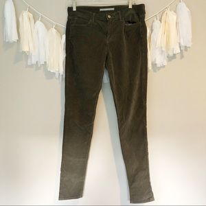 Vince Olive Green Skinny Corduroy Pants